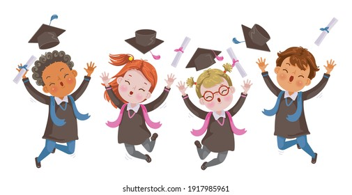 Kids graduate jumping. Graduation Children jumping. Graduate group. Gestures very happy. Cheers! Success. Concept illustration of Diploma graduating little for kid. Successful Strong, growing.