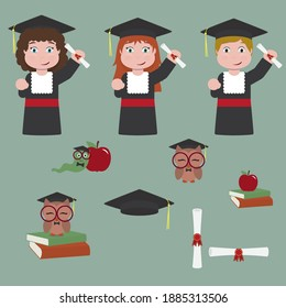 Kids in Graduation with diploma, graduation cap, books, cute owl and worm - vector illustration