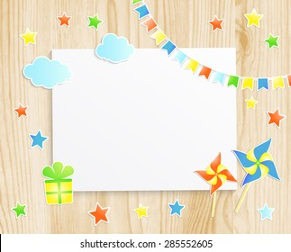 Kids greeting card or invitation for baby with pinwheels, stars, flags, gift box and  photo frame on wooden background. Vector EPS10