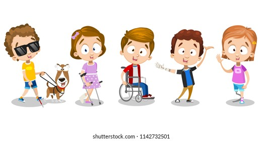 Kids with guide-dog, with dentures and in wheelchair. Three boys and two girls are disabled, but they are cheerful, colorfully, bright characters and go for walk. Illustration on white background