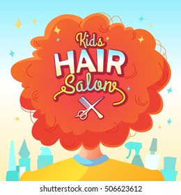 Kids Hair Salon Vector Illustration And Poster In Cartoon Style