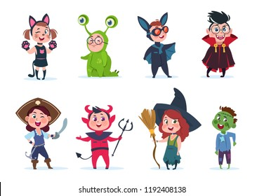 Kids halloween costumes. Cartoon cute baby at halloween party. Festival cartoon vector characters costume for child, witch and monster, pirate and dracula illustraion