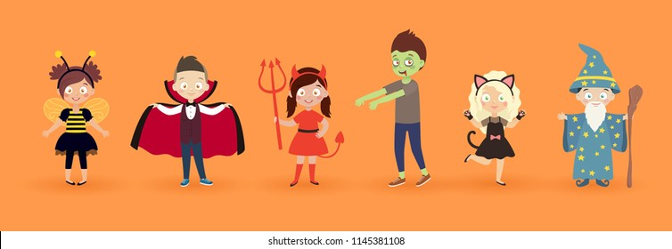 Kids in halloween costumes. Funny and cute carnival kids set. Vector illustration.