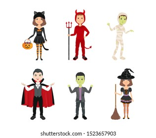Kids in halloween costumes isolated on white background. Girls in witch and cat costumes. Boys in halloween costume of Frankenstein, Dracula, mummy, devil. Vector illustration in cartoon flat style.