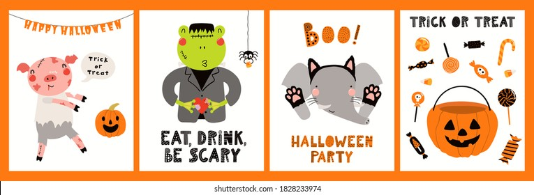 Kids Halloween cute animals in party costumes trick or treating, ghosts, pumpkin, candy, fun cards collection. Hand drawn vector illustration. Scandinavian style flat design. Concept for card, invite.