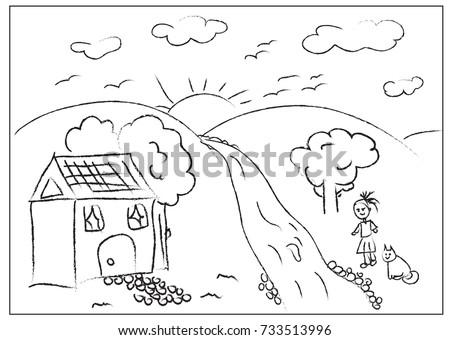 Kids Hand Draw Painting Page Stock Vektorgrafik Lizenzfrei