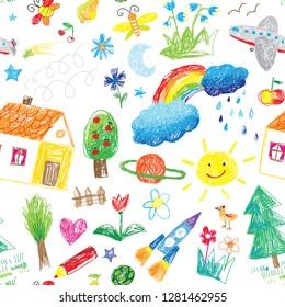 kids hand drawn doodle seamless pattern illustration