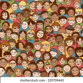 Kids - Hand drawn seamless pattern with cute faces of children from diverse cultural / ethnic backgrounds - in color
