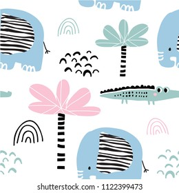 Kids hand drawn tropical seamless pattern with palms, crocodile and elephant. Summer background. Vector illustration. Print for babys design. Scandinavian style