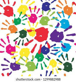 Kids hand prints rainbow seamless pattern, classic background, colorful backdrop, wrapping design