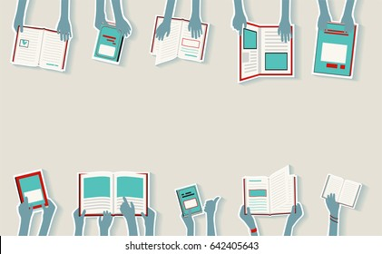 Kids Hands Reading Library Books Blue, abstract concept, ideal for flyers
