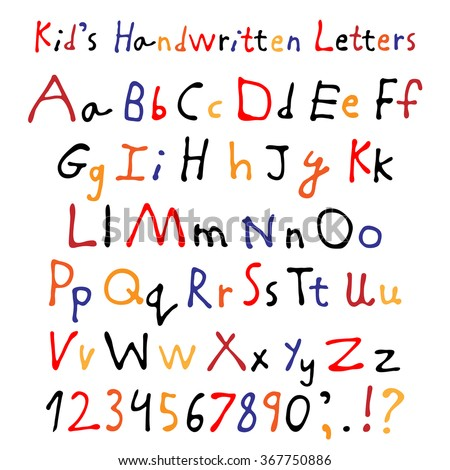 kids handwritten letters full alphabet numbers stock vector royalty