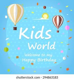 Kids Happy Birthday celebration Invitation card design with beautiful decoration.