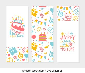 Kids Happy Holidays Banner Template, Birthday Party Poster, Flyer, Festive Background, Invitation Card Design with Cute Childish Seamless Pattern Vector Illustration