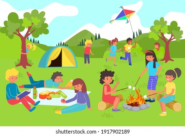 Kids have fun and play in summer camp, holidays outside city, happy girls and boys at picnic, cartoon style vector illustration. Useful outdoor recreation, joyful childhood, interesting journey.