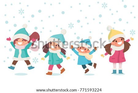 e6ee68fd2 Kids Have Fun Playing Outdoors Winter Stock Vector (Royalty Free ...