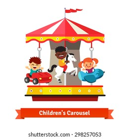 Kids having fun on a carnival carousel. Boys and girl riding on toy horse, plane and car whirligig. Flat vector cartoon illustration isolated on white background.