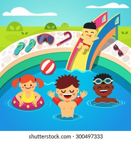 Kids having a pool party. Happy swimming and sliding into the water. Flat style cartoon isolated vector illustration.