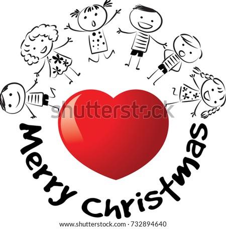Kids Heart Shape Merry Christmas Text Stock Vector (Royalty Free ...