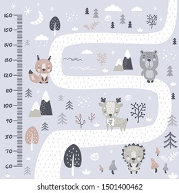 Kids height chart. Cute and funny doodle wild animals in forest. Growth chart or banner in scandinavian style. Poster template, childish print. Vector illustration
