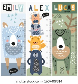 Kids height chart with forest animals in doodle cartoon style. Vector Illustration. Childish meter wall for nursery design. Great for girl and boy.