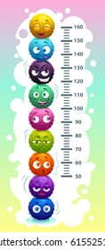 Kids height chart with funny cartoon colorful round fluffy characters. Vector illustration.