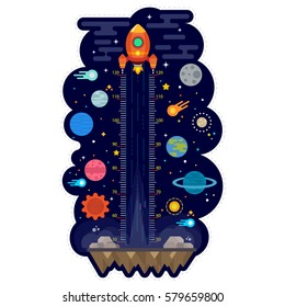 Kids height chart with space and solar system, Meter wall or height meter, Vector illustration
