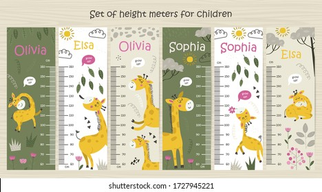 Kids height chart. Vector isolated illustration with Giraffes