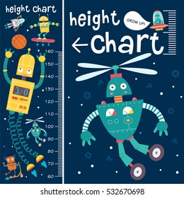 Kids height chart. Vector isolated illustration with cute robots.