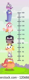 Kids height chart. Wall metter with funny cartoon birds. Vector illustration.