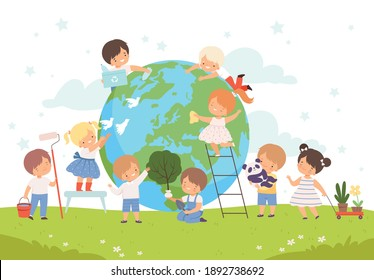 Kids Help Save the World, Children Volunteers Cleaning up Wastes and Plant Trees on the Earth, Nature and Ecology Protection Concept Cartoon Style Vector Illustration