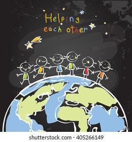 Kids helping each other, global friendship, unity concept vector illustration. Children being together, teamwork. Chalk on blackboard sketch, hand drawn doodle.