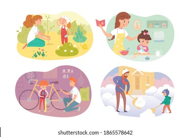 Kids helping parents set. Girls and boys help mother, father and brother with housework. Childhood helpers vector illustration. Cooking with mom, planting tree, removing snow, repairing bike.
