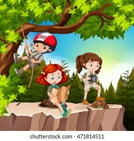 Kids hiking up the mountain illustration