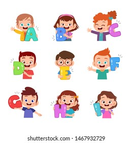 kids holding alphabet vector illustration