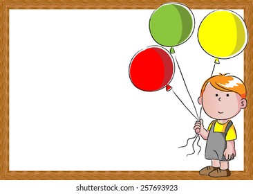 kids holding balloons in the blank card