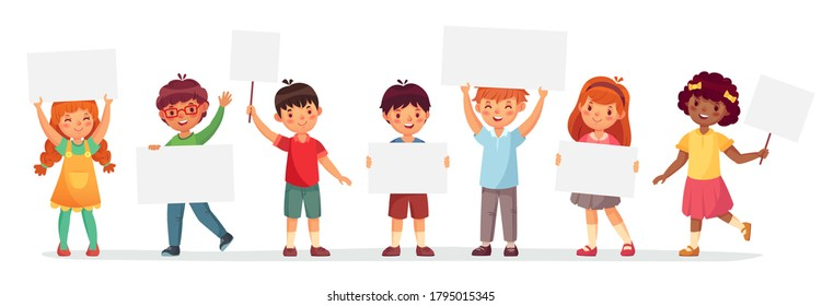 Kids holding banners. Vector boy and girl with empty banner, illustration cartoon school kid and board for text