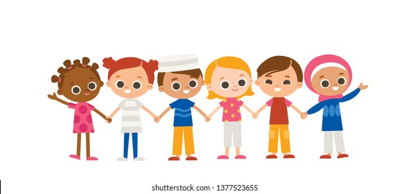 Kids holding hands. International characters. Multicultural concept.