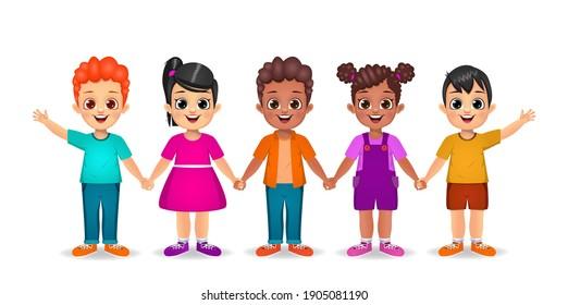 kids holding hands together vector