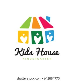 Kids house kindergarten and preschool logo template