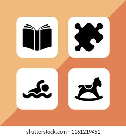 kids icon. 4 kids set with toy, swim and school vector icons for web and mobile app