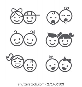 Kids icons set, boys and girls, children symbols, vector illustration