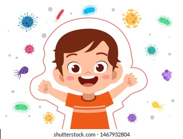 kids immune protection system vector illustration