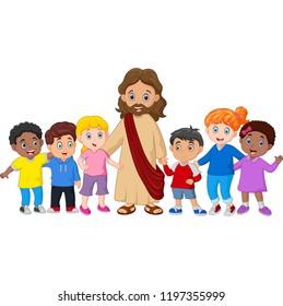 Kids with Jesus Christ