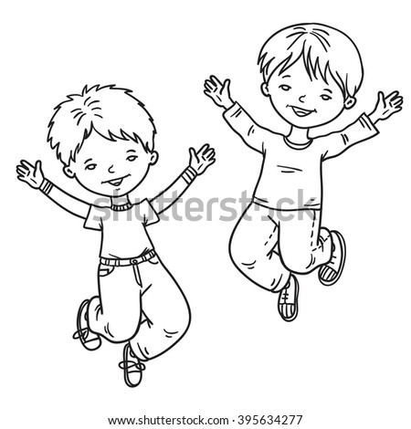 jump coloring pages for kids | Kids Jumping Friends Boys Jump Vector Stock Vector ...