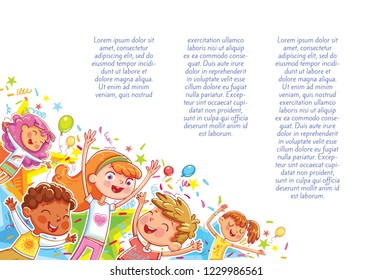 Kids jumping have fun in children's party. Template for advertising brochure. Children's background for your design. Ready for your message. Funny cartoon character. Vector illustration