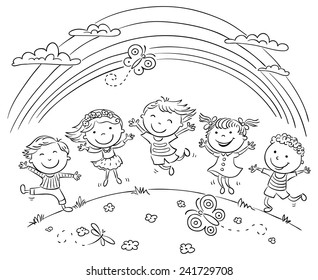 Kids jumping with joy on a hill under rainbow, black and white outline