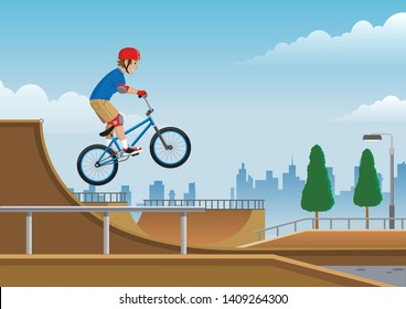 kids jumping on bmx bicycle in the skatepark