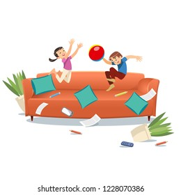 Kids jumping on the couch playing with a ball. Cartoon vector illustration isolated on white background. Family concept. Mischievous brother and sister having fun at home.