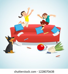 Kids jumping on the couch playing with a ball. Cartoon vector illustration isolated on blue background. Family concept. Mischievous brother and sister having fun at home.